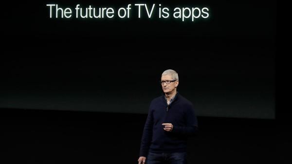Tim Cook destacó el rol de las aplicaciones en el futuro de la TV, en el marco de la última conferencia que se hizo en octubre (AP)