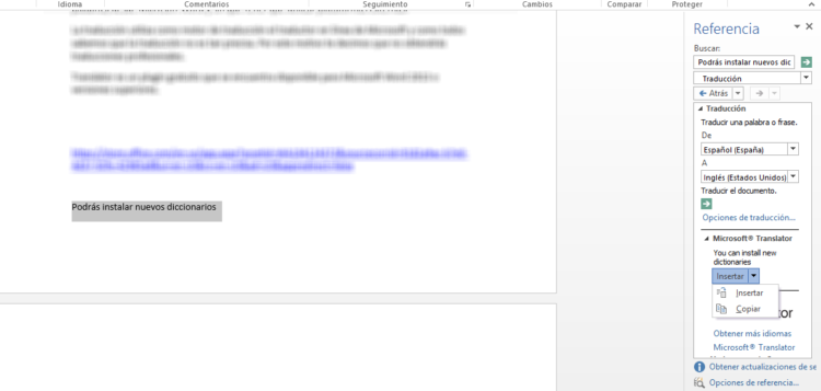 Complemento para traducir textos en Microsoft Word