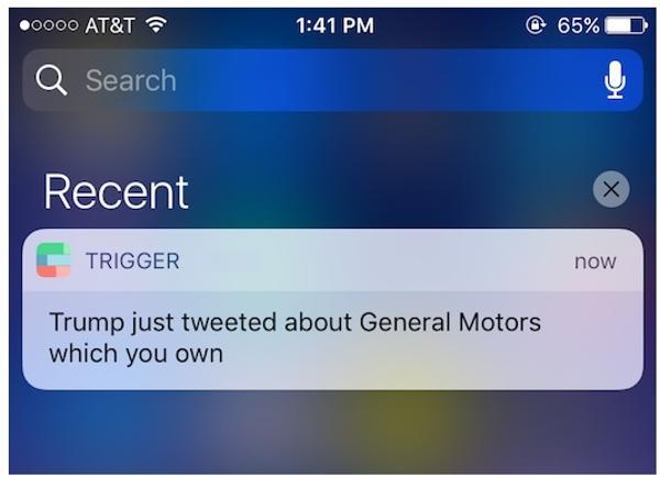Así se ve el alerta que emite la herramienta Trump trigger