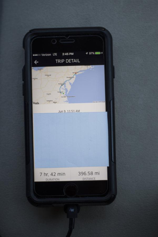 Una captura de pantalla del viaje de 639 km de Virginia a Brooklyn (Chet Strange)