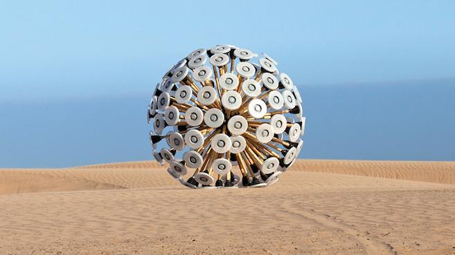 Mine Kafon, un detonador de minas que se mueve gracias a la acción del viento.