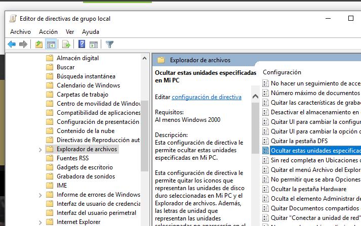 Opciones para esconder unidades en Windows 10
