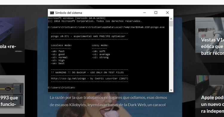 Pingo: Programa de línea de comandos para comprimir imágenes en lote
