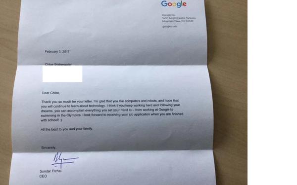 La respuesta que recibió Chloe del mismísimo CEO de Google, Sundar Pichai