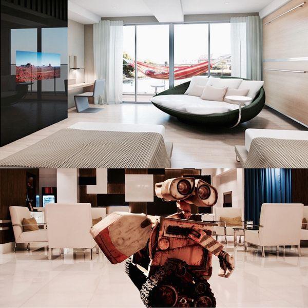 """La decoración de las habitaciones es minimalista pero sorprenden las terminaciones para un establecimiento de bajo costo con un valor promedio por noche de 50 dólares. Debajo: un robot inspirado en WALL-E """"corre"""" a asistir a un huesped"""