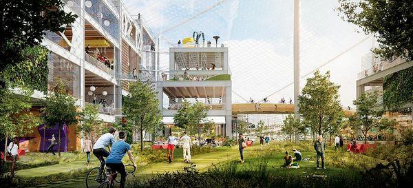 Las empresas de tecnología también transformarán la arquitectura de Silicon Valley: una proyección del interior de Charleston East, de Google, en Mountain View. (BIG/Heatherwick Studio)