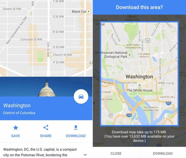 Slide up on the map screen to get the menu that includes the download option. MUST CREDIT: Washington Post screengrab from a Samsung Galaxy S6 by Hayley Tsukayama