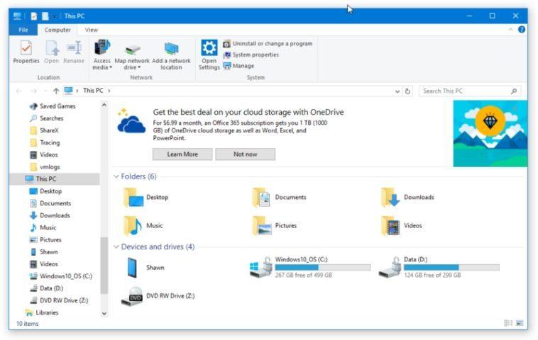 Windows 10 inyecta publicidad en su Explorador de Archivos
