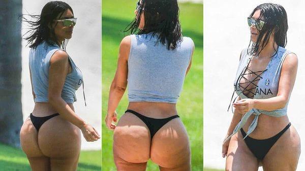 Antes y después: más fotos muestran cómo cambia el cuerpo de Kim Kardashian con y sin Photoshop