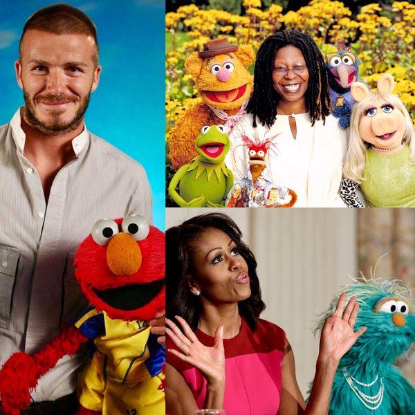 Desde su aparición, los Muppets han sido acompañados por incontables celebridades y líderes de opinión, entre los que se encuentran la ex Primera Dama Michelle Obama, la actriz Whoopi Golberg y el futbolista David Beckham