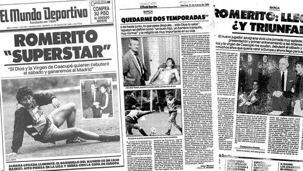 """""""Romerito 'Superstar'"""", escribió el periódico catalán Mundo Deportivo, que dedicó varias páginas al fichaje del crack paraguayo"""