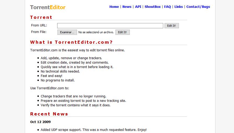 Editar Torrent desde el navegador Web