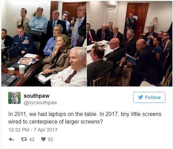 Algunos usuarios hicieron circular una comparativa entre la imagen actual con los misteriosos dispositivos y la de 2011, donde los funcionarios están con laptops
