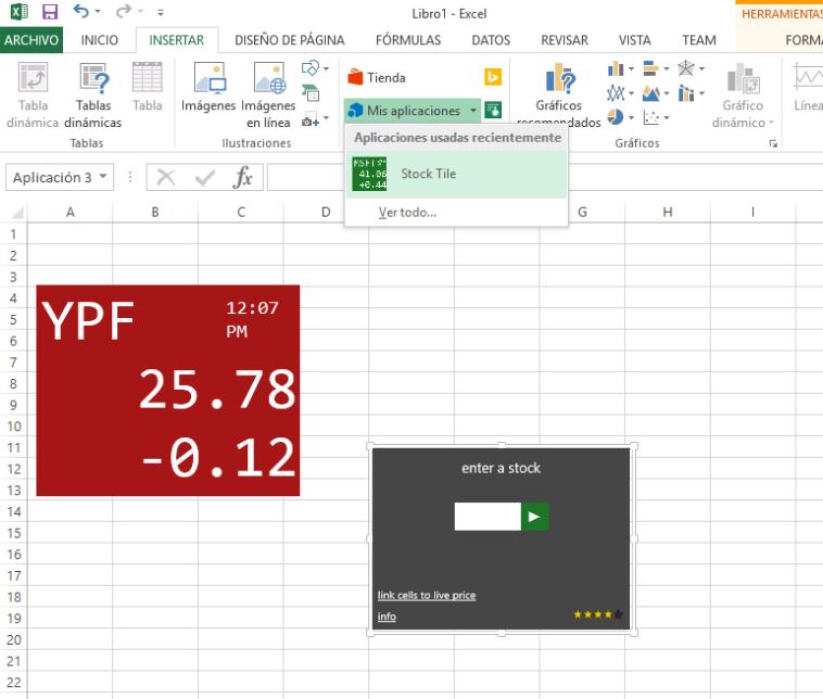 Stock Tile: Ver precios de acciones en tiempo real con Excel