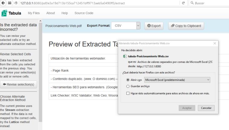 Extraer y copiar los datos de una tabla en archivos PDF