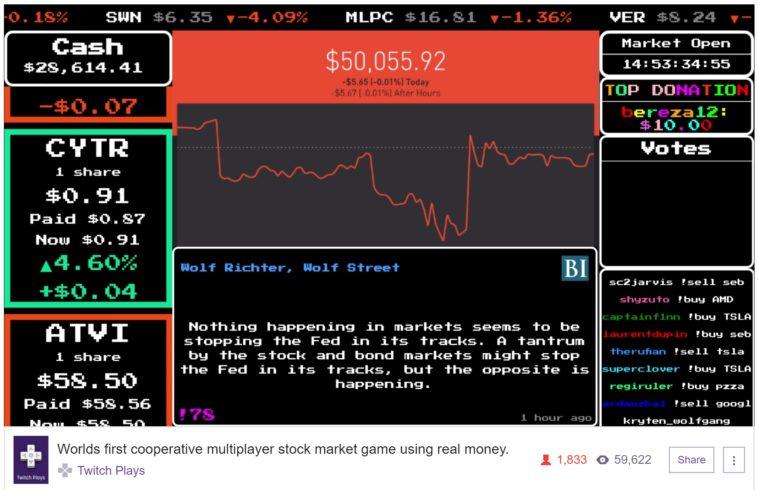 Programador arriesga 50.000 dólares para que los usuarios de Twitch compren y vendan acciones