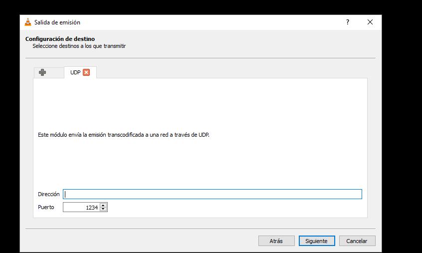 Añades un UDP