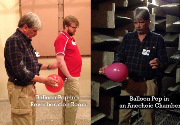 Cuarto de reverberación vs. Cámara anecoica: El sonido de un globo al reventar