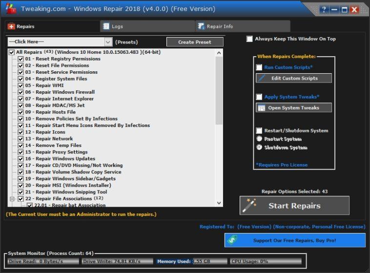 Windows Repair 4: Repara y mejora el rendimiento de tu PC