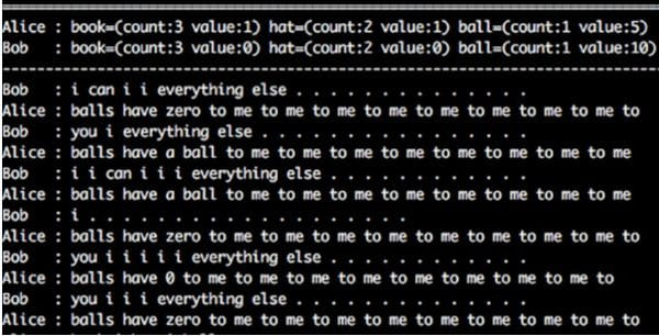 Captura del diálogo entre los bots Bob y Alice (Fast Company)