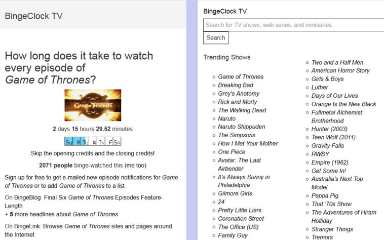 BingeClock: ¿Cuánto tiempo tardarías en ver una serie completa?